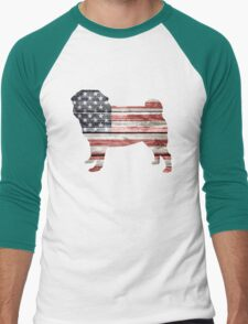 Patriotic Pug Men's Baseball ¾ T-Shirt