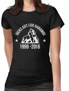 DICKS OUT FOR HARAMBE (white) Womens Fitted T-Shirt