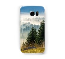 coniferous forest in foggy Romanian mountains Samsung Galaxy Case/Skin