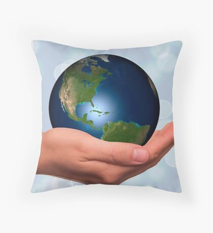 Hold earth in your hand,heal earth,love of earth,manipulated digital photo Throw Pillow
