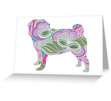 Floral Garden Pug Greeting Card