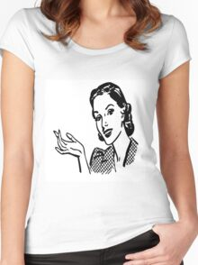black and white 1950 era lady,drawing,vintage,retro,classy,chic,elegant Women's Fitted Scoop T-Shirt