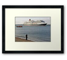 Watching Cunard's Queen Victoria leave Southampton Water, southern England Framed Print