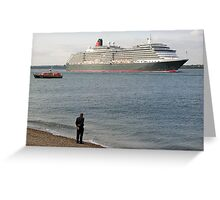 Watching Cunard's Queen Victoria leave Southampton Water, southern England Greeting Card