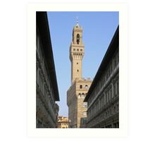 The tower of the Palazzo Vecchio seen through the Uffizi, Centro Storico, Florence, Italy Art Print