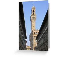 The tower of the Palazzo Vecchio seen through the Uffizi, Centro Storico, Florence, Italy Greeting Card
