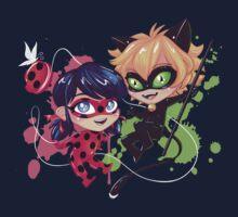 Chibi Time! Ladybug & Cat Noir One Piece - Short Sleeve