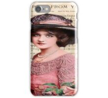 Beautiful,chic,elegant,Victorian,lady,roses,note paper,collage,vintage,shabby chic, iPhone Case/Skin