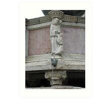 Statue of St Benedict, Fontana Maggiore, Centro Storico, Perugia, Italy Art Print