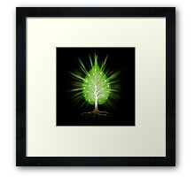 Green leaf shaped tree nature fractals concept on black background art photo print Framed Print