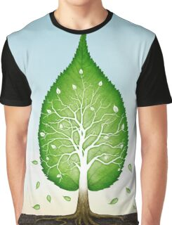 Green leaf shaped tree growing from earth concept art photo print Graphic T-Shirt