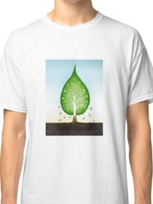Green leaf shaped tree growing from earth concept art photo print Classic T-Shirt