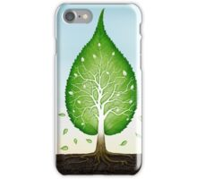 Green leaf shaped tree growing from earth concept art photo print iPhone Case/Skin