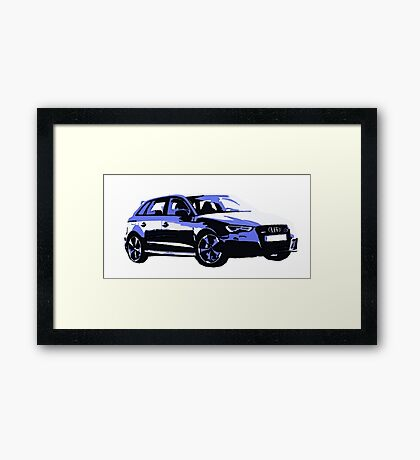 Awesome AUDI RS3 S3 VAG VW JDM - Street Car sports hatchback art Graffiti Popart  warhol Framed Print