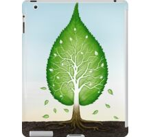 Green leaf shaped tree growing from earth concept art photo print iPad Case/Skin