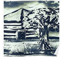 Black and White Stamped Autumn Tree Poster