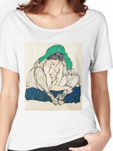 Egon Schiele - Crouching Woman with Green Headscarf (1914)  Women's Relaxed Fit T-Shirt