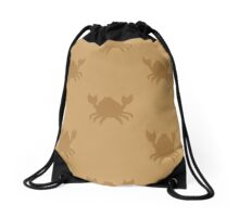 Crabs on brown Drawstring Bag