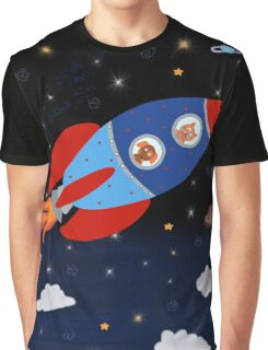 Space - Rocket - Cat - Dog Graphic T-Shirt