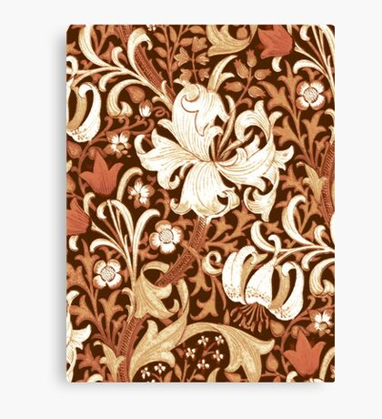 William Morris Iris and Lily, Brown and Tan Canvas Print