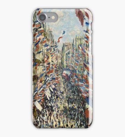 Claude Monet - The Rue Montorgueil in Paris  Celebration of June 30, 1878  iPhone Case/Skin