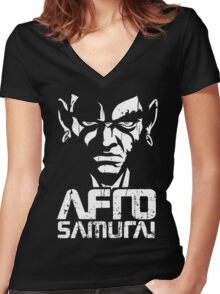Afro Women's Fitted V-Neck T-Shirt