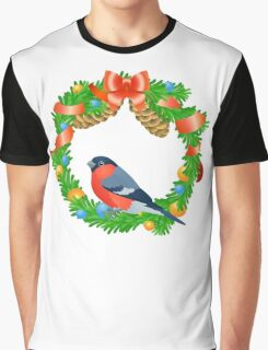 Christmas wreath with bullfinch on white background Graphic T-Shirt