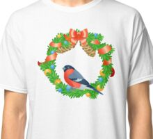 Christmas wreath with bullfinch on white background Classic T-Shirt