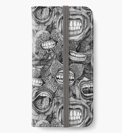BITE ME roses and orchids BLACK WHITE iPhone Wallet/Case/Skin