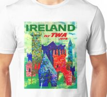 """""""TWA AIRLINES"""" Vintage Fly to Ireland Advertising Print Unisex T-Shirt"""