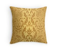 Gold damask pattern,vintage,victorian,pattern,old fashioned,wall paper,art nouveau,girly, Throw Pillow