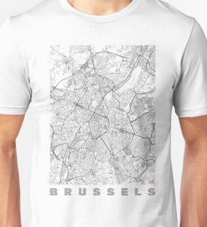 Brussels Map Line Unisex T-Shirt