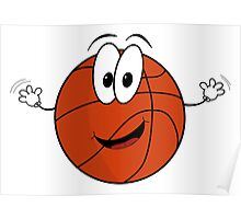 Happy cartoon basketball character Poster