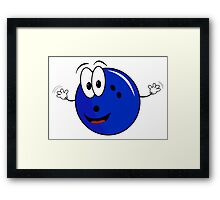 Happy cartoon bowling ball character Framed Print