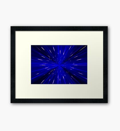 Space and time travel concept background Framed Print