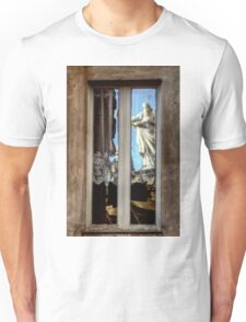 Statue reflection on window Unisex T-Shirt