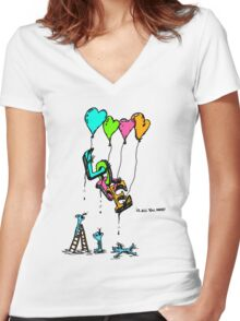 Love is all you need Women's Fitted V-Neck T-Shirt