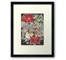 Koi dragon with koi fish Framed Print