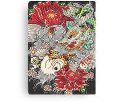 Koi dragon with koi fish Canvas Print