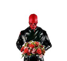 Red skull with flowers by sherlokian