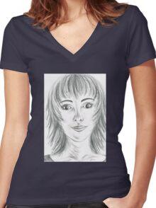 Portrait Stunning Women's Fitted V-Neck T-Shirt
