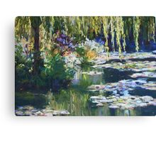 Willow & lilies, Giverny Canvas Print
