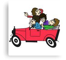 THE BEATLES DRIVING A CAR Canvas Print