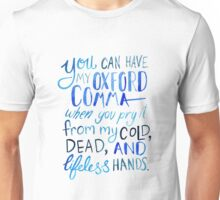 Oxford Comma Grammar Joke Blue Watercolour Typography Unisex T-Shirt