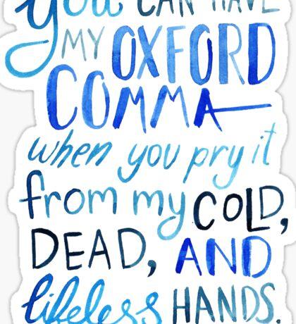 Oxford Comma Grammar Joke Blue Watercolour Typography Sticker