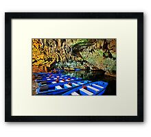 Boat ride in the underworld - Diros caves Framed Print