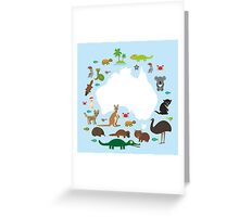 Australian White Map and Animals Greeting Card