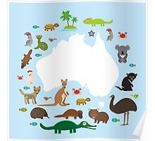 Australian White Map and Animals Poster