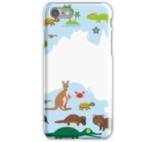 Australian White Map and Animals iPhone Case/Skin