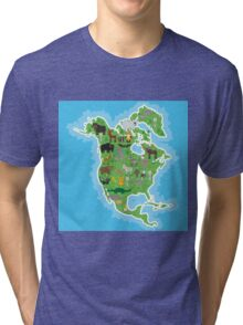 Northern America Animal Map Green Tri-blend T-Shirt